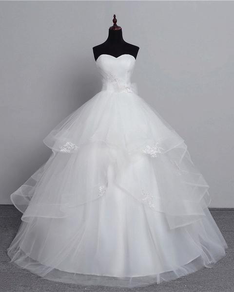 White Tulle Layered Strapless Vintage Wedding Dress_2