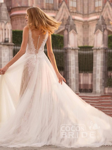 V Neck Sleeveless Covered Button A Line Wedding Dresses_2