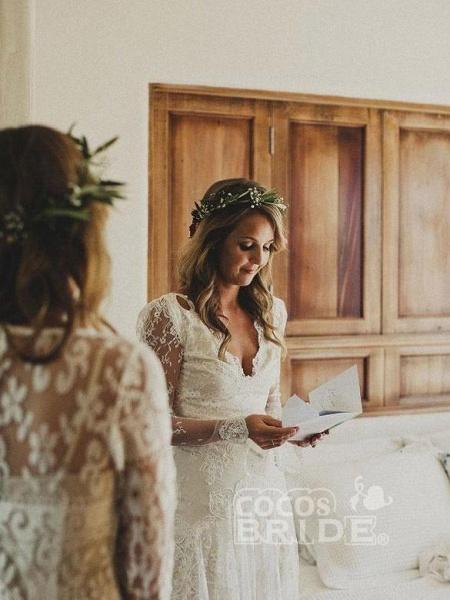 Modest Long Sleeves Lace Illusion Boho Mermaid Wedding Dresses_2