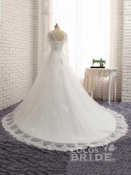 Gorgeous Long Sleeves Lace Ribbon Tulle Wedding Dresses_2