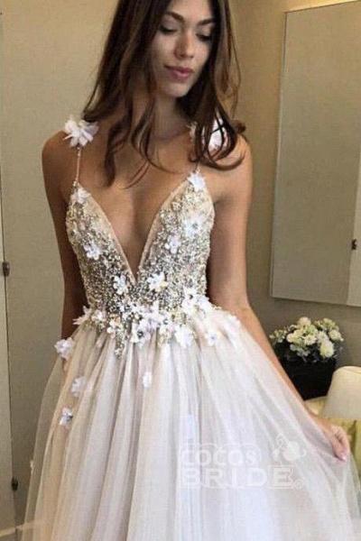 Deep V-neck Beading Straps Tulle Appliques A-line Custom Beach Wedding Dress_11