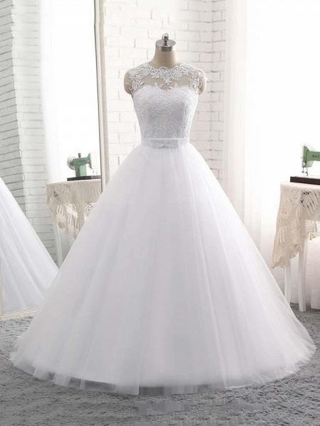Elegant V-Neck Ball Gown Tulle Wedding Dresses_1