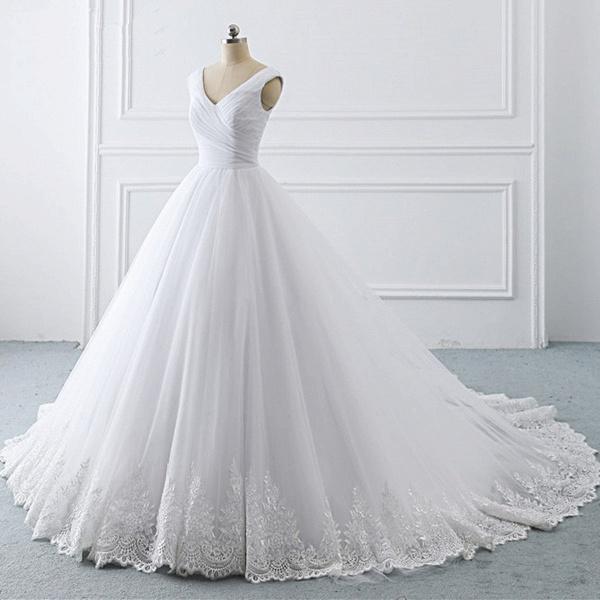 Unique White Lace V Neck Puffy Sweep Train Wedding Dress_4