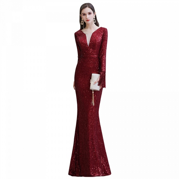 Gorgeous Sequins Long Sleeve V-Neck Mermaid Evening Gowns_20