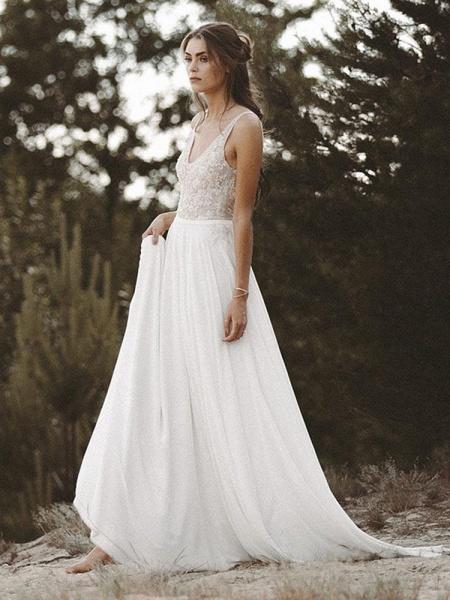 V Neck Lace Boho Wedding Dresses_1