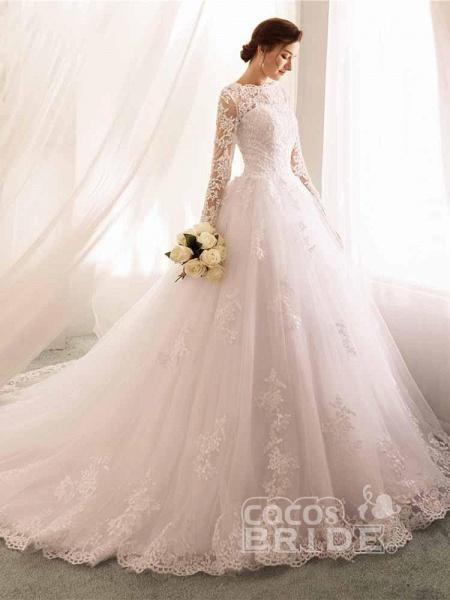 Long Sleeves Lace Tulle Mermaid Wedding Dresses_3