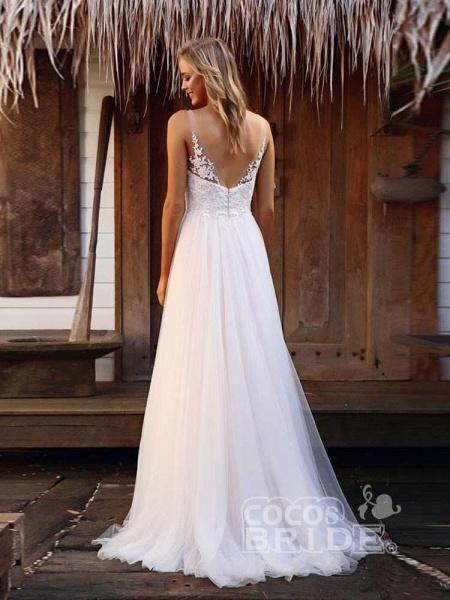 V-Neck Lace Tulle Wedding Dresses_2