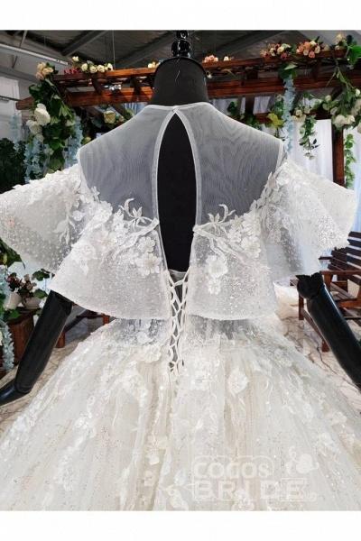 Gorgeous Ball Gown Big Princess Sleeves Wedding Dress_5