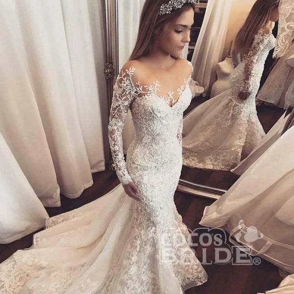 Gorgeous Mermaid Illusion Long Sleeves Tulle Appliques Beach Wedding Dress_3