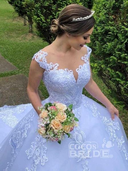 Exquisite Scoop Short Sleeve Zipper Lace Wedding Dresses_5