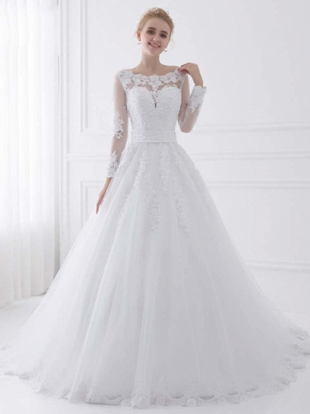 Long Sleeves Lace Ribbon Ball Gown Wedding Dresses_1