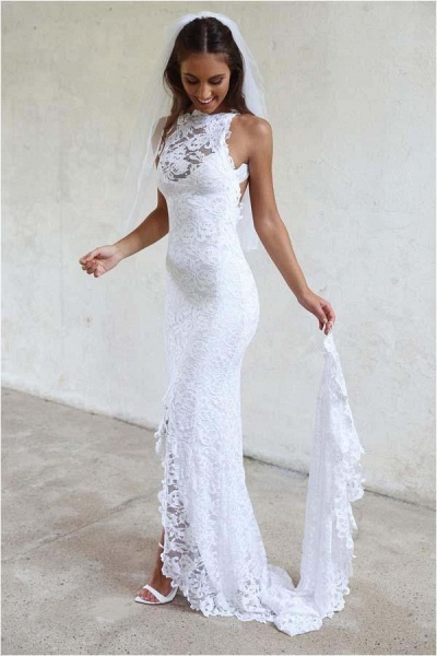 Sexy Mermaid Jewel Lace Backless With Court Train Beach Wedding Dress_1