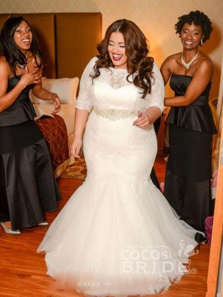 Half Sleeves Sashes Mermaid Wedding Dresses_2