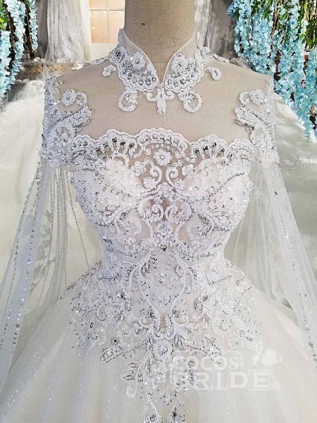 Luxury High Neck Lace Ball Gown Wedding Dresses_4