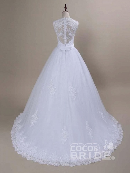 Modest Lace Covered Button Ball Gown Wedding Dresses_2