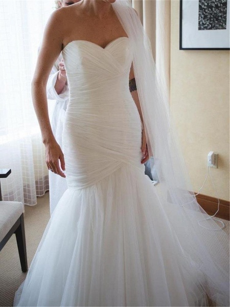 Sweetheart Tulle Ruched Mermaid Wedding Dresses_1