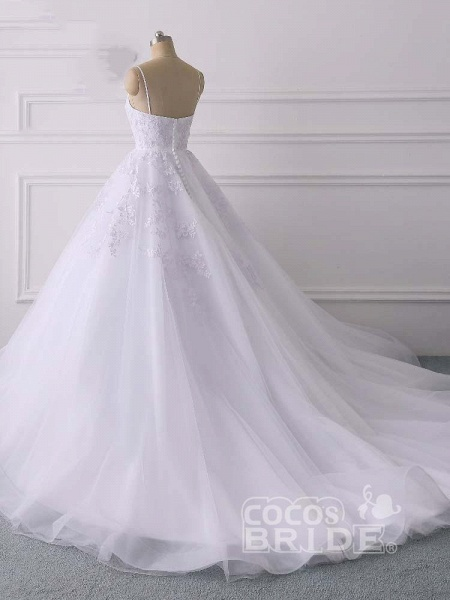 Spaghetti Straps Lace Tulle Ruffles Wedding Dresses_4