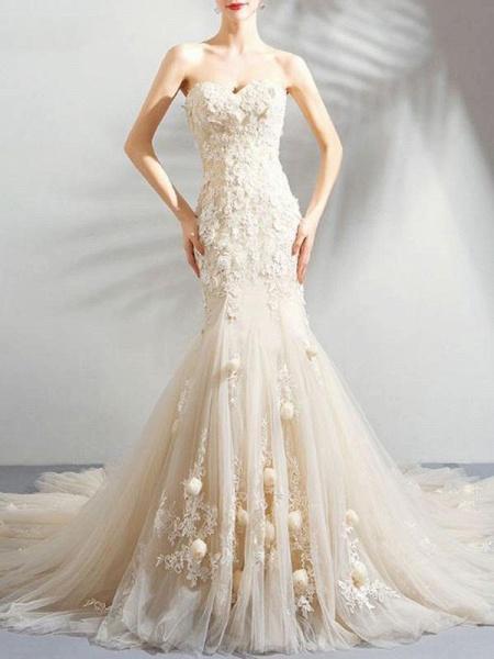 Sweetheart Sleeveless Mermaid Wedding Dresses_1