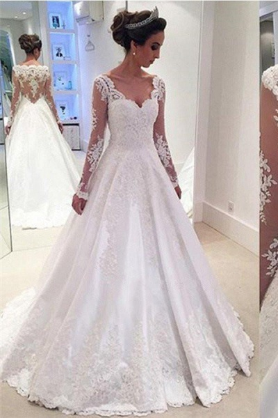 Elegant A-line V Neck Long Sleeves Wedding Dress_1