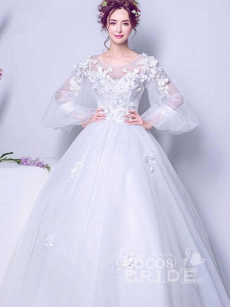 Luxury Long Sleeves Flowers Ball Gown Tulle Wedding Dresses_2