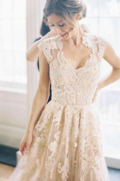 Elegant V-neck Sleeveless Cap Sleeves Floor-Length Wedding Dress_1