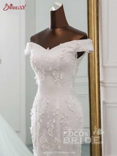 New Style Flower Lace Mermaid Ruffles Wedding Dresses_3