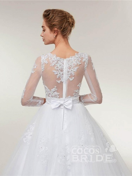 Elegant Long Sleeves Lace Detachable Train Ball Gown Wedding Dresses_4