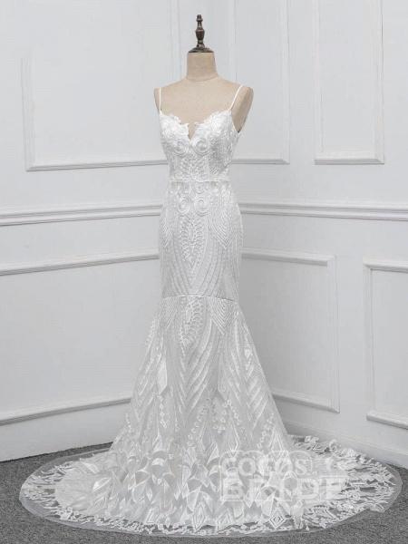 Elegant Spaghetti-Strap Backless Mermaid Wedding Dresses_2