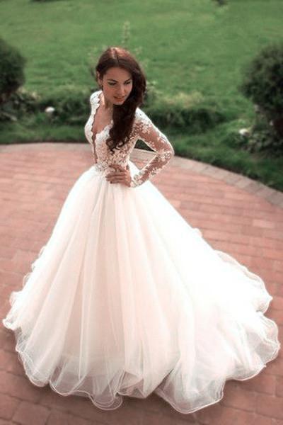 Boho Puffy Tulle Lace Long Sleeves Wedding Dress_1