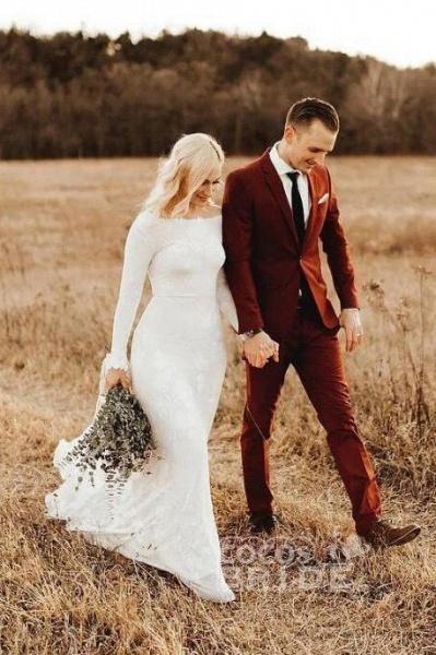 Ivory Long Sleeve Rustic Backless Sheath Beach Wedding Dress_2