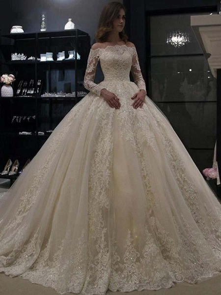 Gorgeous Long Sleeves Lace Ball Gown Wedding Dresses_1
