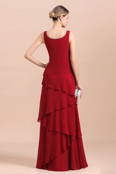Elegant Burgundy Ruffles Chiffon Mother of the Bride Dress With Jacket_7