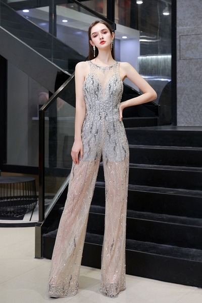 Jewel Sleeveless Tulle Evening Jumpsuit with Sequins_2