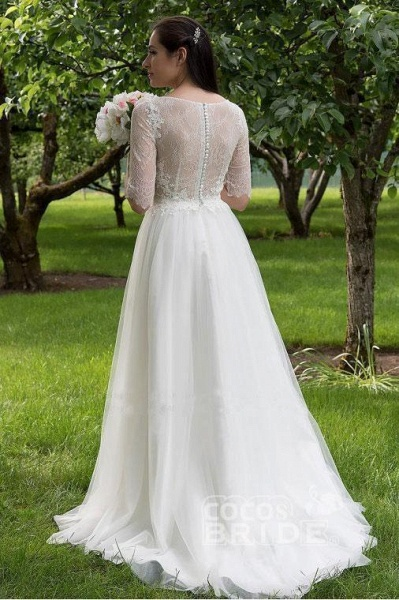 Lace Bodice Dress with Half Sleeves A Line Tulle Cheap Wedding Dresss_2