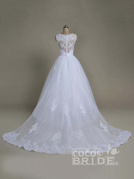Elegant Jewel Lace Ball Gown Wedding Dresses_3