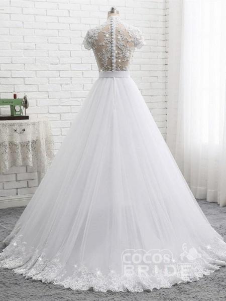 Elegant Short Sleeves Lace Beaded Tulle Wedding Dresses_3