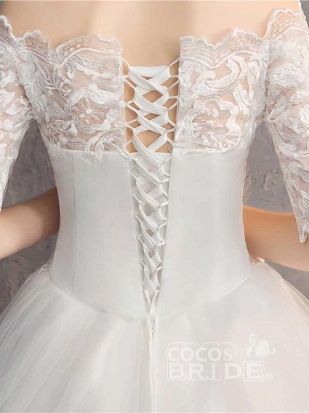 Elegant Lace-Up Tulle Ball Gown Wedding Dresses_6