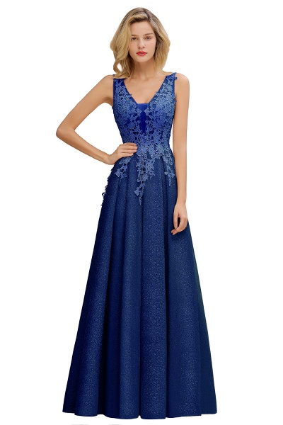 Attractive V-neck Lace A-line Evening Dress_4