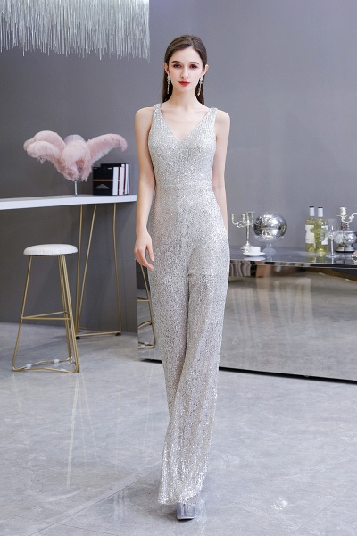 Sexy Shining V-neck Sleeveless Prom Jumpsuit with Silver Sequins_5