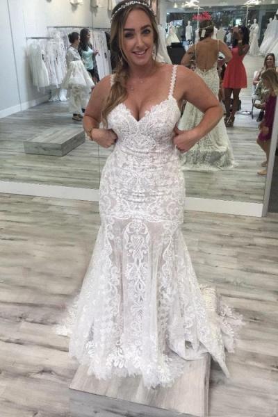 Spaghetti Straps Mermaid V Neck Backless Lace Wedding Dress_1