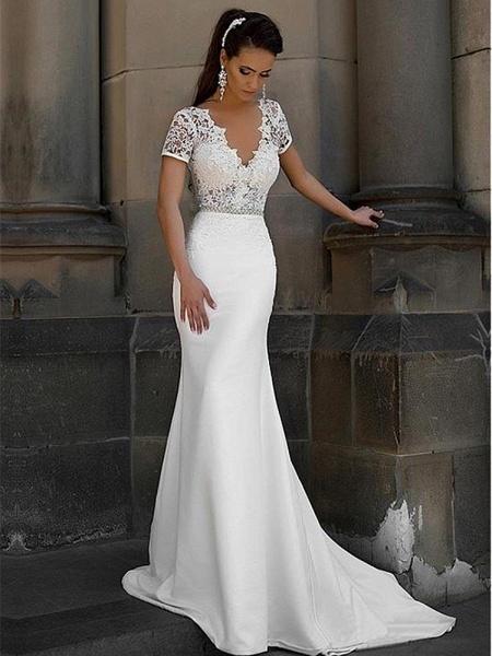 Gorgeous V-neck Short Sleeves Lace Mermaid Wedding Dresses_1