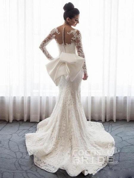 Long Sleeves Lace Mermaid Wedding Dresses_2