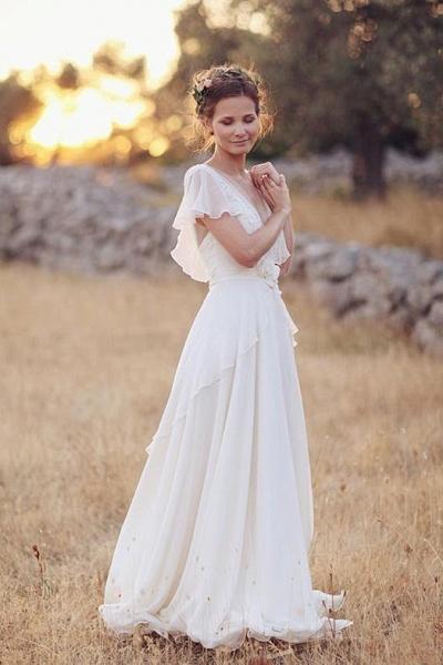 Ivory V Neck Chiffon Boho Unique Cap Sleeves Beach Wedding Dress_1