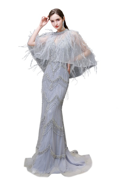 Gorgeous Silver Feather Cape Mermaid Sparkle Prom Dresses_1