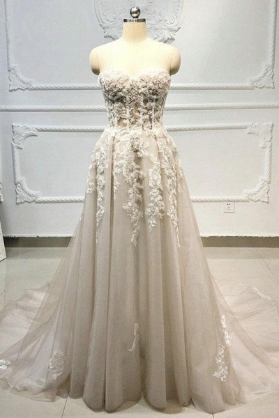 Strapless Lace-up Beaded Appliques A-line Wedding Dress_1