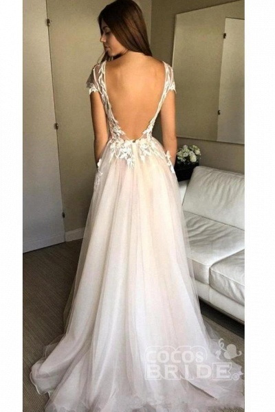 Cap Sleeve Deep V-neck With Appliques Sexy Split Tulle Wedding Dress_2