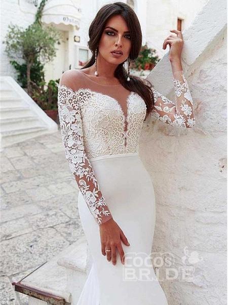Amazing Scoop Long Sleeves Mermaid Lace Wedding Dress_2