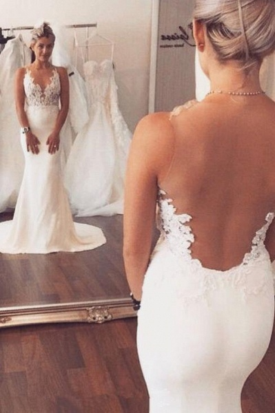 Appliqued Sleeveless Beach Mermaid Wedding Dress_1