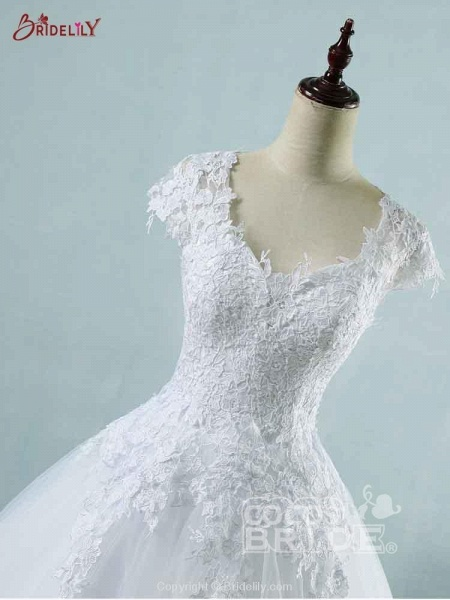 Lace White Cap Sleeves Ball Gown Tulle Wedding Dresses_5