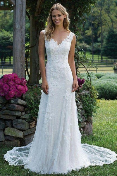 Vintage V Neck Sleeveless Tulle Appliqued Wedding Dress_1